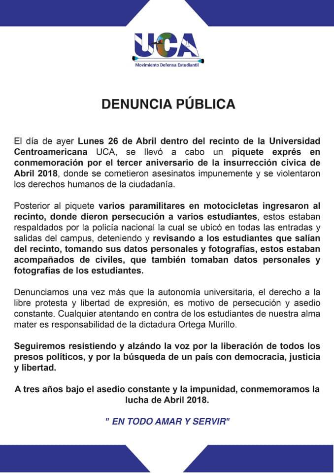 La denuncia fue publicada en la cuenta de Facebook del Movimiento Defensa Estudiantil
